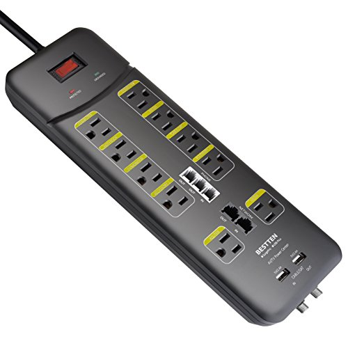(BESTTEN 10 Outlet All-in-One Surge Protector Power Strip with 2 USB Charging Ports (3.1A Total) and Phone/Ethernet/Coaxial Protection, 9-Foot Ultra Long Extension Cord, 3800 Joules, ETL Listed, Black)