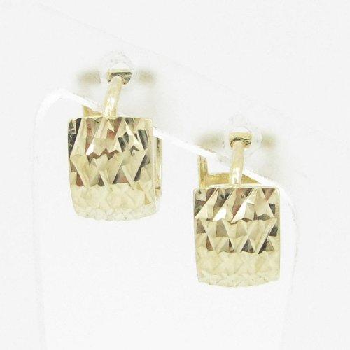 womens bp30 fancy earrings 14K yellow gold italian ball stud huggie hoop by IcedTime