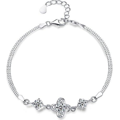 Presentski Sterling Silver Charm Bracelet,Four Leaf Clover with Diamond Charm Bracelet - 4 Four Sterling Silver Charm