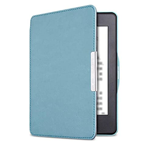 For Kindle Paperwhite Leather Cover, Inkach Leather Smartshell Magnetic Auto Wake/Sleep Case Cover for 2016 Kindle Paperwhite (7th Generation) 6 inch (Sky (Kindle Paperwhite Case Rotating)