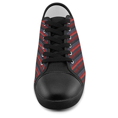 Artsadd Aangepaste Glanzende Rode Gradiënt Strepen Canvas Schoenen Voor Mannen (model016)