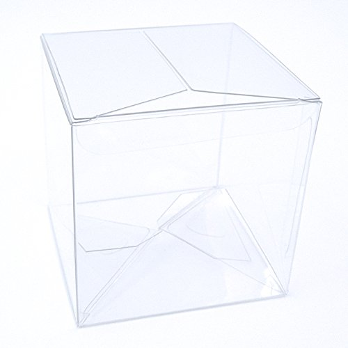 Ultimate-Box 25 Ct. 3x3x3 Inch Crystal Clear Gift Boxes; Premium BPA-Free Food-Grade Plastic & Fast Assembly; Made for Wedding Favors, Party Favors, Cupcakes, & More; Includes Bonus Seals & Labels