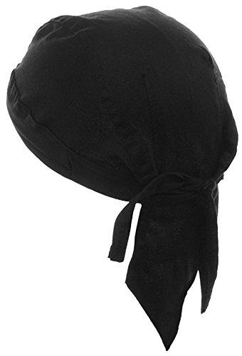 Black Doo-Rag Skull-Cap with Sweatband Motorcycle Bandana Wrap -