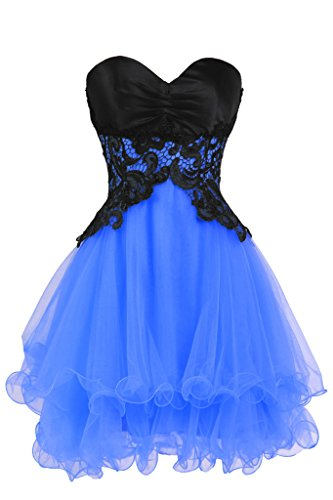 [Ellames Sweetheart Cocktail Short Prom Homecoming Party Dresses For Juniors Royal Blue US 14] (Masquerade Dress)