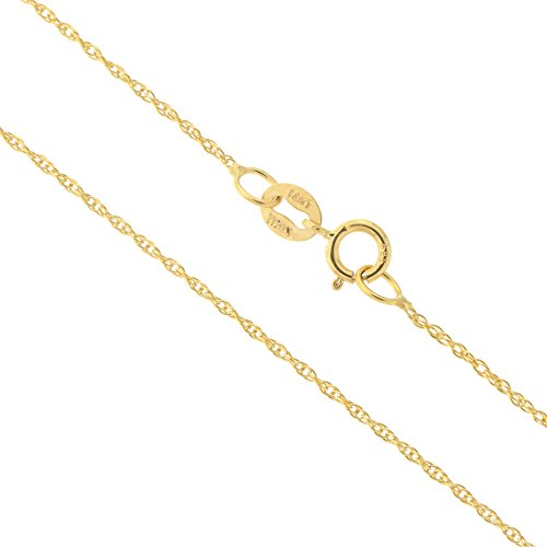 14k Yellow Gold Italian - 14k Yellow Gold Italian 0.90mm Rope Chain Necklace, 18