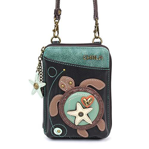 (Chala Wallet Crossbody Cell Phone Purse-Women Faux Leather Multicolor Handbag with Adjustable Strap - Turtle Black)