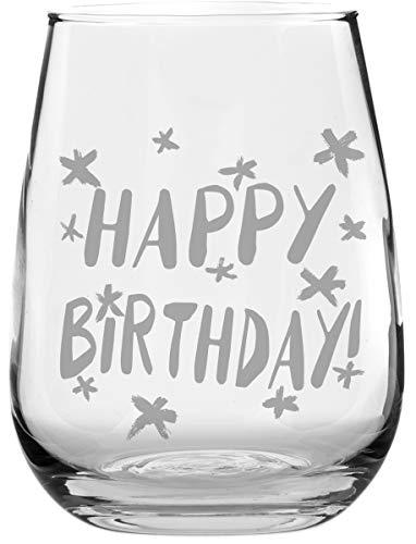 Happy Birthday Stemless Wine Glass - Makes a Great Birthday Gift Under $10!