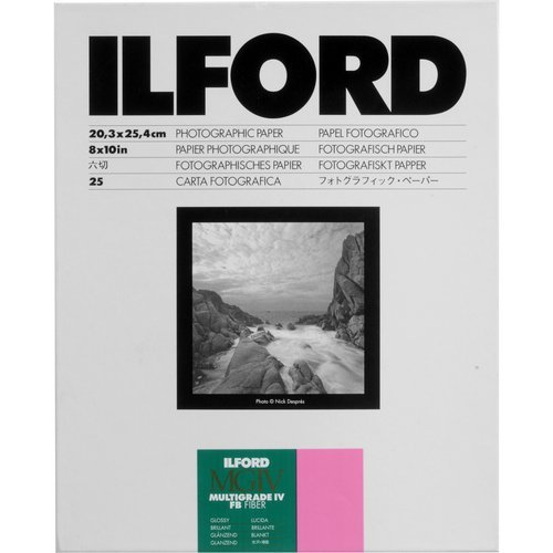 Ilford 1168109 Multigrade IV FB Fiber Based VC Variable Contrast Doubleweight Black & White Enlarging Paper - 8x10