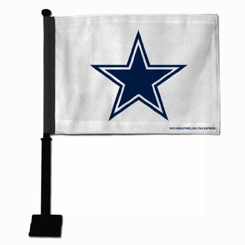 NFL Dallas Cowboys Car Flag, Black Pole (Dallas Cowboys Football Car Flag)