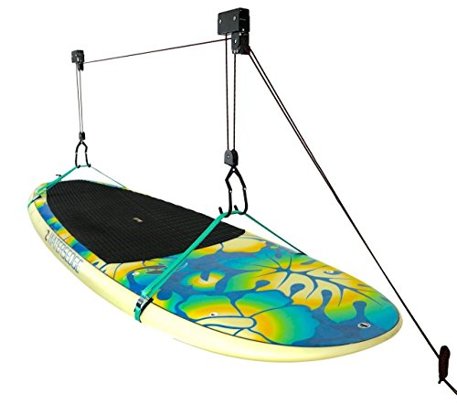 StoreYourBoard SUP and Surfboard Ceiling Storage Hoist | Hi-Lift Home & Garage Hanging Pulley Rack