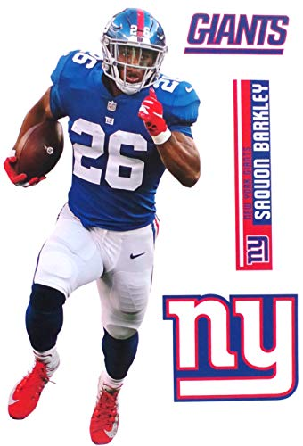 Saquon Barkley FATHEAD + New York Giants Logo Set Official NFL Vinyl Wall Graphics 17