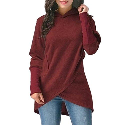 da brand orlo Outwear Wrap maniche asimmetrici donna lunghe autunno creativo cappuccio attraente con a Wine new con inverno cappuccio felpa Prevently moda tops 0aFqZfqd
