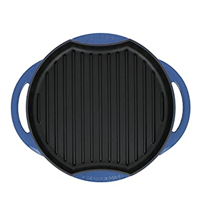 Chasseur 10-inch Blue Round French Enameled Cast Iron Grill Pan