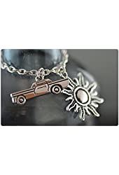 Supernatural Necklace, Impala and Protective Sun, Anti Possession, Dean Necklace