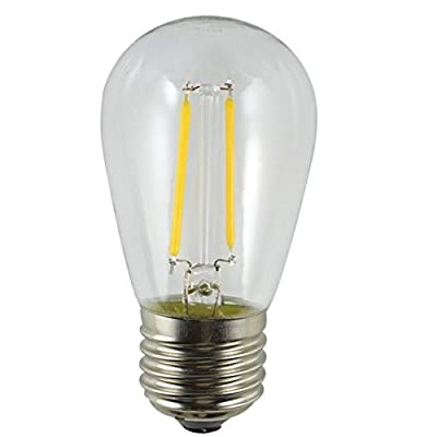 Holiday Lighting Outlet LED Filament S14 Commercial Grade Replacement Light Bulbs, Outdoor Weatherproof 1.5 Watt Dimmable Plastic Bulbs for Patio String Lights, E26 Base UL Listed, Warm White, 12 Pack