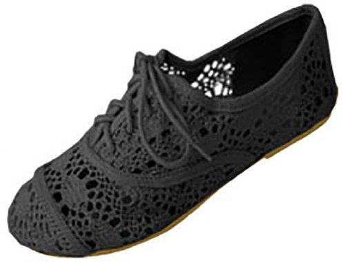Womens Crochet Oxfords Flat Shoes Lace Up (5/6, Black 5001)