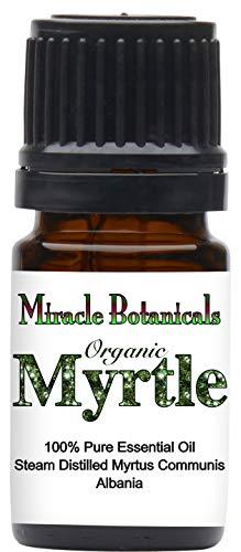 Miracle Botanicals Organic Myrtle Essential Oil - 100% Pure Myrtus Communis - Therapeutic Grade - 5ml
