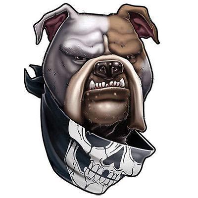   Dog Ink   Temporary Tattoo - American Bulldog with Skull Bandanna Body Sticker - For Men Women   Made in USA (Bulldog Tattoo Designs)