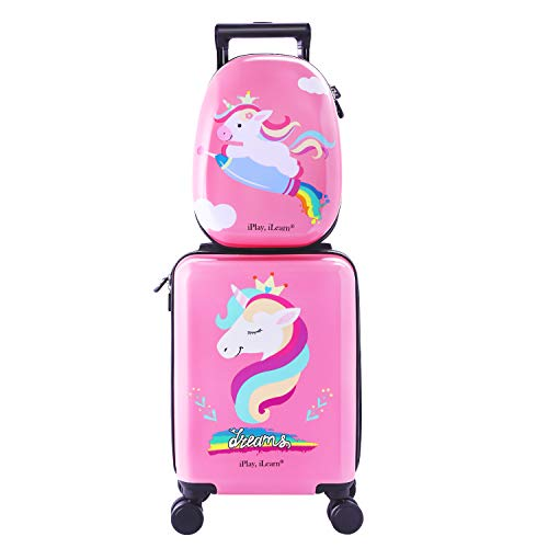 Travel Girl - Unicorn Kids Carry On Luggage Set with Spinner Wheels, Girls Travel Suitcase