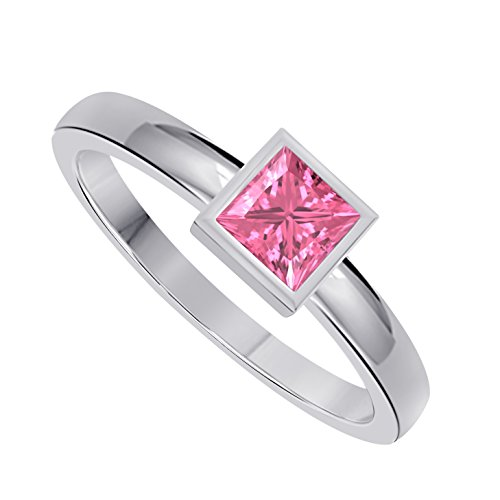 Classic 1.00 Ct Princess Cut Lab Created Pink Sapphire Bezel Set Solitaire Engagement Ring in 925 Sterling Silver