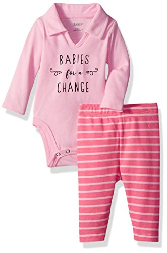 Hanes Ultimate Baby Girls Flexy 2 Piece Set (Pant with Long Sleeve Polo Bodysuit), Pink Stripe Fun, 6-12M