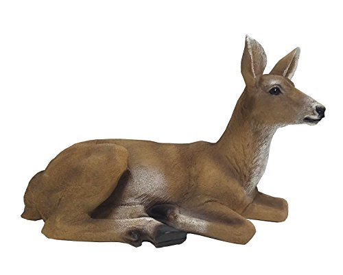 RubySports Small Doe Statuary Resin Statue Garden Lying Sculptures Cabin Animal Figurines Lodge Art Décor for Indoor Outdoor Home Or Office by RubySports Home Arts
