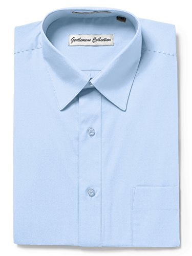 Gentlemens Collection Mens Short Sleeve Classic Fit Wrinkle Free Dress Shirt (19, Light Blue) ()