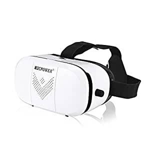 M2cpower® 3D VR Virtual Reality Glasses Headset (LATEST VERSION)3D VR Glasses with Head-mounted Headband and NFC Tag for Google iPhone Samsung Note LG Huawei HTC Moto smartphone for 3D Degree Videos