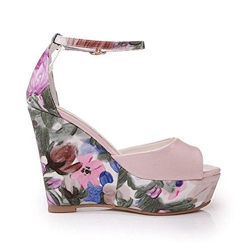 Buckle High Womens Sandals Peep PU Pink Assorted Heels Color Toe AmoonyFashion H5Aw7
