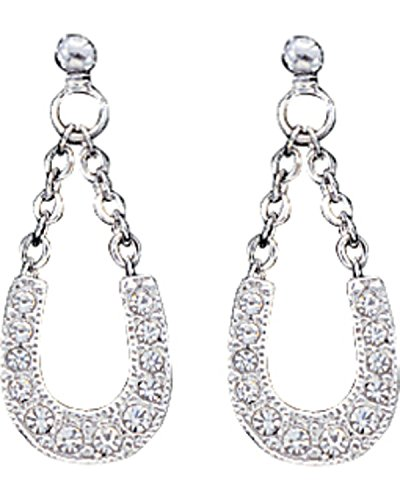 Montana Silversmiths Women's Crystal Clear Lucky Horseshoe Earrings Silver One Size - Montana Silversmiths Crystal