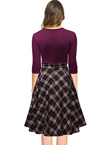 Missmay Women's Vintage Retro Plaid Patchwork A-line Cocktail ...