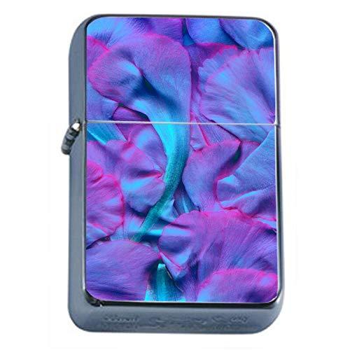 Purple Petals Flip Top Dual Torch Em1 Smoking Cigarette Silver Refillable Dual Flame
