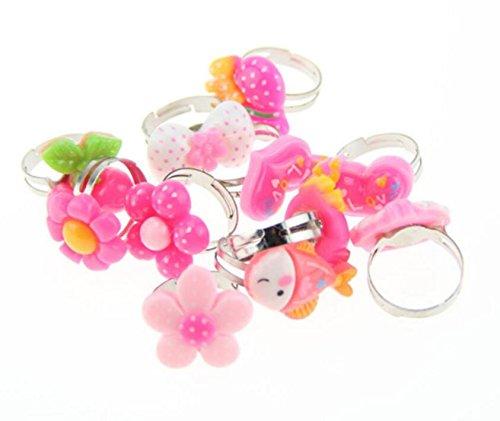 Zhahender Little Girls Accessory Jewellery Toy Ten Pcs/Set Children's Acrylic Plastic Box Gift Cartoon Ring Suit(Acrylic Ring) by Zhahender