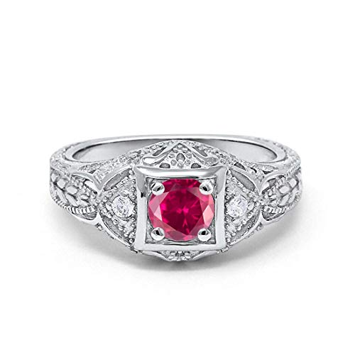 Ruby Antique Style Ring - Blue Apple Co. Art Deco Antique Style Wedding Engagement Ring Simulated Ruby Round Cubic Zirconia 925 Sterling Silver, Size-10
