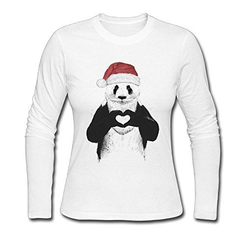 Santa Panda Woman's Long Sleeve Shirts Juniors Retro 90s