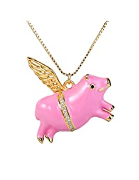 Ever Faith Women's 925 Sterling Silver CZ 3D Lovely Animal When Pigs Fly Pink Enamel Pendant Necklace