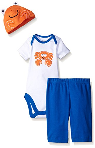 Gerber Baby Three-Piece Bodysuit, Cap, and Pant Set, Crab, 0-3 Months