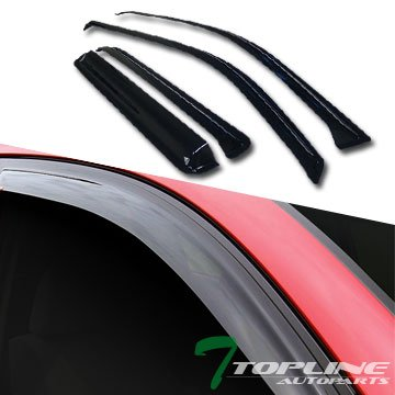 Topline Autopart Smoke Window Visors Deflector Vent Shade Guard 4 Pieces For 02-09 Chevy Trailblazer ; GMC Envoy (Window Trailblazer)