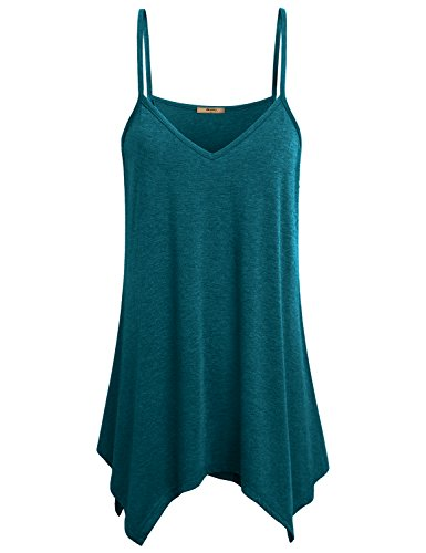 Miusey Sleeveless Tank Tops for Women, Spaghetti Strap Flow Asymmetrical Hem Sexy Loosely Cami Dress Pleated Knitted Super Cute Soft Light Holiday wear Tunic Blue L
