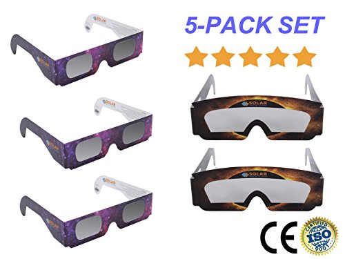 Solar Eclipse Glasses By Solar Spectix (5-Pack): CE And ISO Certified Sun Viewing Glasses With Eye Protection Filter – Safe Direct Sun Viewers – Plus Bonus eBook, Infographic Poster, And Time Chart
