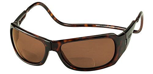 Clic Eyewear Readers Tortoise 2.00 (Clic Monarch Polarized Bi-Focal Reading Sunglasses in Tortoise with Brown Lens +2.00)