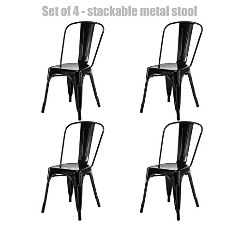 Modern Vintage Style Metal Steel Stackable Bar Stool School Office Kitchen Dining Room Counter Chair Sturdy Scratch Resistant Seats - Set of 4 Black #740c
