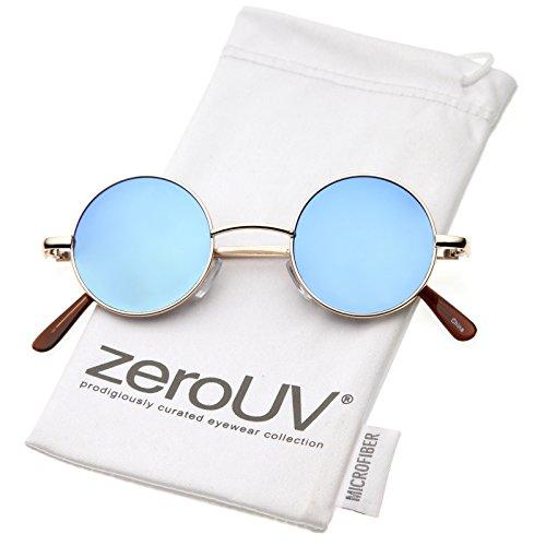 zeroUV - Retro Round Sunglasses for Men Women with Color Mirrored Lens John Lennon Glasses (Gold/Blue)