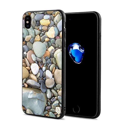 Creative iPhone Xs Case Black Rubber Protective Case Cover Pebble Stone Pattern Art for iPhone X iPhone Xs 5.8 Inch Originality Max