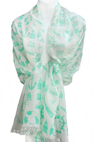 Medley Starfish - Imagine If. New Style Scarf Wrap Cover-up Nautical Medley - Mint on Off White
