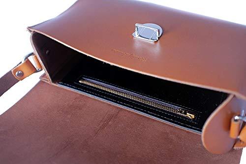 Colore fibbia pelle Tan Borsa con Dimensione fatta a grande a con Moontang mano chiusura in a tracolla Rosso mano xfYq6dZwU