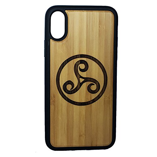 Triskele Symbol phone Case Cover for iPhone X by iMakeTheCase | Eco-Friendly Bamboo Wood Cover + TPU Wrapped Edges | Triskelion Celtic Knot Iron Age | Irish Spiral La Tene | Teen Wolf Tattoo