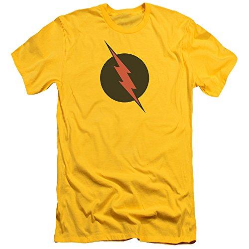 Justice League Of America DC Comics Reverse Flash Black Logo Adult Slim T-Shirt (Flash T-shirt Reverse)