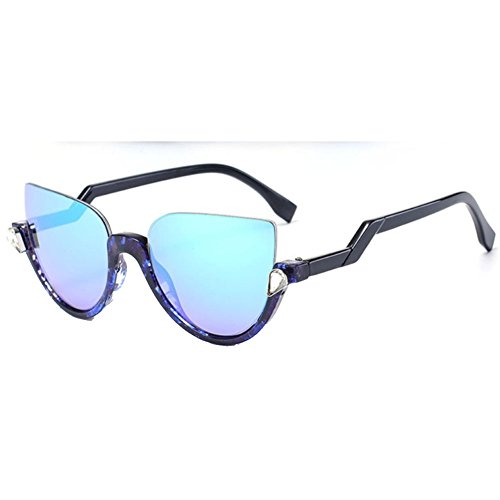 Sinkfish SG80016 Sunglasses for Women,Anti-UV & Fashion Oval - UV400/Black Frames/Cyan - Vera Vera Sunglasses Simply Wang