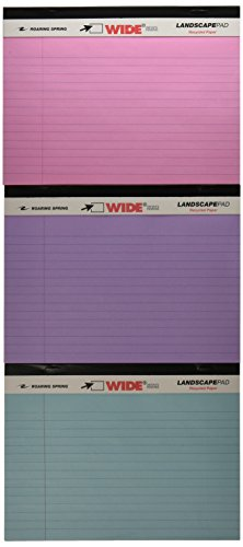 """Roaring Spring WIDE Landscape Pad, 8"""" x 6"""", 40 Lined sheets, 3/pack, Assorted"""